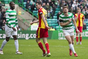 Celtic's James Forrest celebrates after completing his hat-trick. Picture: SNS/Craig Foy