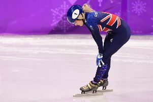 Elise Christie was disqualified from her 1,000m short track speed skating heat. Picture: AFP/Getty