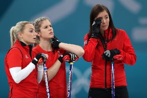 Eve Muirhead  (right), Anna Sloan and Vicki Adams look dejected after losing the Bronze Medal match. Picture: PA