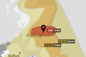 A red weather warning has been issued for much of Scotland. Picture: Met Office