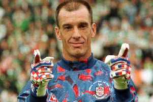 Airdrie goalkeeper John Martin lines up before 1995 Scottish Cup final with Celtic. Picture: SNS Group