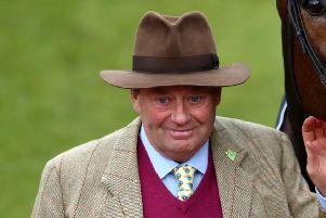 Trainer Nicky Henderson saddles favourite Might Bite in the Cheltenham Gold Cup. Picture: Michael Steele/Getty Images