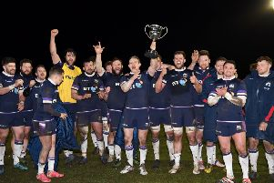Scotland Club XV beat their Irish counterparts at Netherdale to retain the Dalriada Cup. Picture: Ross Parker/SNS