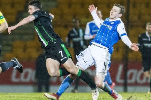 St Johnstone's Blair Alston fouls John McGinn. Picture: SNS
