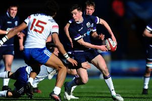 Scotland U18 try-scorer Rufus McLean offloads in the win over France at Cardiff Arms Park.  Picture: Harry Trump/Getty Images
