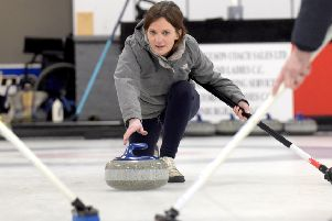 Jane Bradley takes part in a curling taster session at the curling rink at Murrayfield (Picture: Lisa Ferguson)