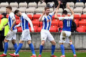 Kilmarnock's Stuart Findlay celebrates his goal with Jordan Jones. Picture: SNS/Gary Hutchison