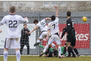 Dumbarton's Craig Barrs scores to make it 2-1. Picture: SNS/Sammy Turner