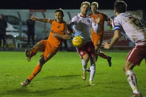 Dundee United's Scott McDonald scores his second of the night. Picture: Paul Devlin/SNS