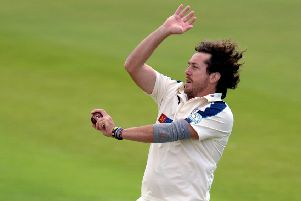 Ryan Sidebottom bowls during an LV County Championship match between Yorkshire and Somerset. File picture: Getty images