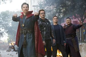 Benedict Cumberbatch, Robert Downey Jr, Mark Ruffalo and Benedict Wong in a scene from Avengers: Infinity War. (Marvel Studios via AP)