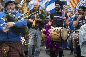 The pro-indy protest march in Glasgow was seen as a joke by some (Picture: John Devlin)