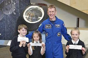 Tim Peake's Spacecraft will be open to the public until 4th August 2018.''P3 pupils from Dunipace Primary School near Falkirk helped with the unveiling. Picture: Neil Hanna