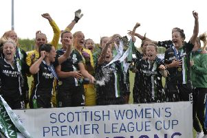 The Hibernian players celebrate their emphatic cup win. Picture: Lorraine Hill.