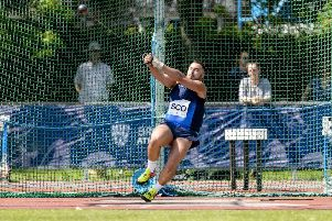 Mark Dry in action on his way to winning the hammer competition at the Loughborough International. Picture: Bobby Gavin