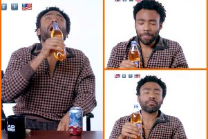 Donald Glover tried Irn-Bru for the first time. Picture: LADbible/YouTube