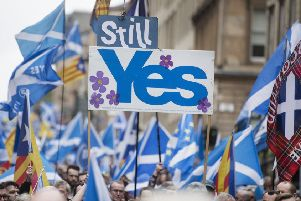 Thousands march in a pro-independence rally in Glasgow. Picture: John Devlin