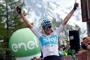 Chris Froome celebrates after powering to victory on stage 19. Picture   AFP Getty be5e82045