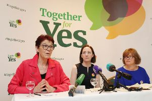 Together for Yes leaders Ailbe Smyth, Grainne Griffin and Orla O'Connor hold their final press conference in Dublin after their successful campaign to legalise abortion. Picture: PA