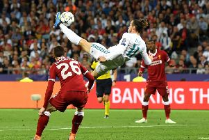 Gareth Bale's brilliant overhead kick gave Real Madrid a decisive lead in the Champions League final. Picture: Getty.