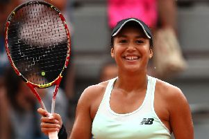 Heather Watson celebrates her win over Oceane Dodin of France at Roland Garros. Picture: Clive Brunskill/Getty Images