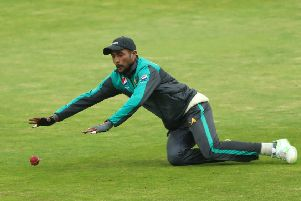 Mohammad Amir takes part in a fielding drill at Headingley. Picture: Tim Goode/PA
