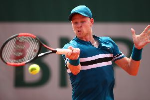 Kyle Edmund plays a forehand during his win over Marton Fucsovics at Roland Garros. Picture: Clive Brunskill/Getty Images