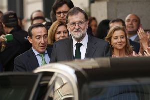 Spain's Prime Minister Mariano Rajoy leaves the parliament after a motion of no confidence vote at the Spanish parliament in Madrid. Picture: AP