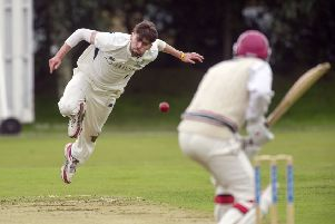 Dylan Budge, bowling, scored 48 with the bat in Grange's victory. Picture: Donald Macleod