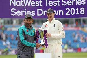 Joe Root, right, alongside Pakistan captain Sarfraz Ahmed after the drawn NatWest Test series. Picture: PA.
