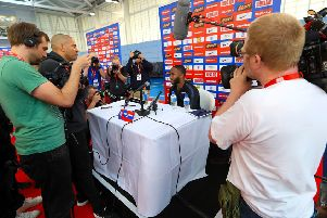 Raheem Sterling faces the media at St George's Park, Burton. Picture: PA