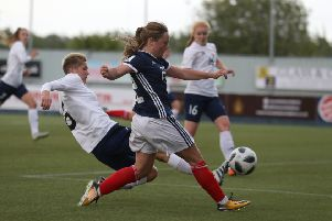 Erin Cuthbert scores the equaliser for Scotland Women before going on to secure three precious points against Belarus last night. Picture: PA.