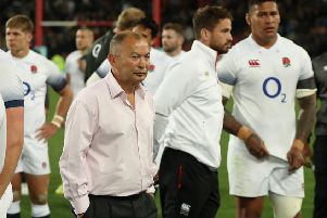 Eddie Jones with his England players after their defeat at Ellis Park. Picture: Getty