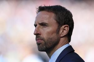 Gareth Southgate and his squad will this afternoon fly from Birmingham Airport to St Petersburg and then on to their base in Repino. Picture: AP.