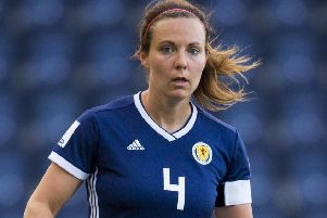 Rachel Corsie helped Scotland to a memorable win in her 100th international appearance. Picture: SNS