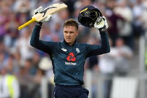 Jason Roy celebrates reaching his hundred for England. Picture: Gareth Copley/Getty Images