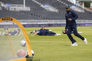 England wicketkeeper Adil Rashid shows off his football skills during a nets session at Old Trafford. Picture: Getty.