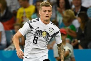 Germany midfielder Toni Kroos curled in the winning goal against Sweden in the fifth minute of injury time. Picture: Jonathan Nackstrand/AFP/Getty Images