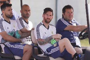 Lionel Messi, second from right, Sergio Aguero, left, and Javier Mascherano arrive for a training session in Bronnitsy. Picture: AP Photo