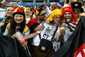 Fans prepare for the Germany and Sweden game at the Fisht Stadium in Sochi, Russia (Picture: Anadolu Agency/Getty Images)
