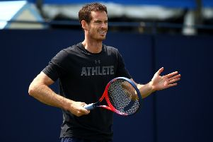 Andy Murray seen during a practice session at Eastbourne. Picture: Getty Images