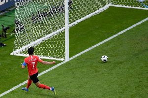 Son Heung-Min rolls the ball into an empty net in the sixth minute of added time to to seal Germany's misery. Picture: Getty.