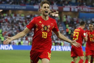 Belgium's Adnan Januzaj celebrates after scoring in the 1-0 Group G win over England. Picture: Photo/Alastair Grant/AP