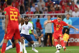 Adnan Januzaj fires off a curling shot which sailed into  the top left-hand corner of England's net. Picture: AFP/Getty.
