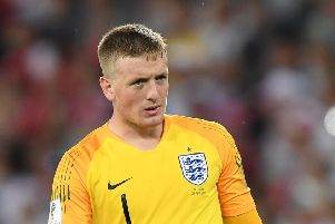 England goalkeeper Jordan Pickford will be between the sticks for the match with Colombia. Picture: Getty Images