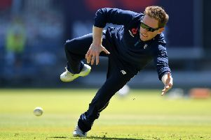 England captain Eoin Morgan takes part in fielding practice at Old Trafford. Picture: Gareth Copley/Getty