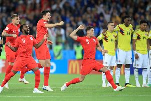 England's Kieran Trippier, Danny Rose, Harry Maguire and John Stones celebrate winning the penalty shootout against Colombia. Picture: Adam Davy/PA