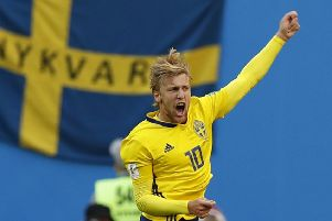 Emil Forsberg celebrates after scoring Sweden's winner. Picture: AP