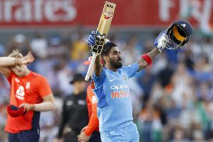 India's Lokesh Rahul celebrates making a century against England. Picture: PA