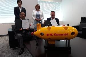 KHI directors with Steve Ham of The Underwater Centre and Fiona Hyslop MSP in Tokyo, alongside the AUV